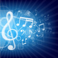 Modern music notes blue background Stock Images