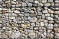 Modern natural filled stone wall easy care fence with pebble stones Royalty Free Stock Photos