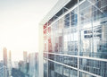 Modern office building facade with of glass Stock Photos