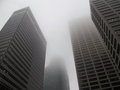 Modern office buildings in the fog Royalty Free Stock Photo