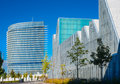 Modern office buildings glisten in the sun a european city Royalty Free Stock Photography