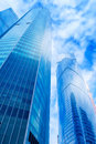 Modern office buildings. Low angle shot of modern glass skyscrap Royalty Free Stock Photo