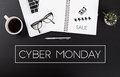 Modern Office desk with Cyber Monday message homepage Royalty Free Stock Photo