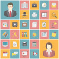 Modern office icons set of flat square Royalty Free Stock Image