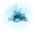 Modern office vector city district with grid background vector