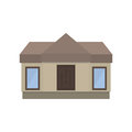 Modern one-storey house in a flat style. Front view. Royalty Free Stock Photo