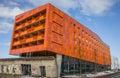 Modern orange appartment building in groningen netherlands Stock Images