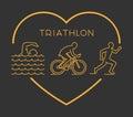 Modern outline triathlon symbol. Royalty Free Stock Photo
