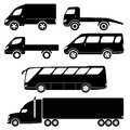 Modern passenger and freight cars silhouettes vector collection van open lorry wrecker minibus truck bus Royalty Free Stock Image