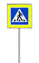 Modern pedestrian crossing road sign isolated on white Stock Photos