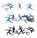 Modern pentathlon icons with athletes vector illustration Royalty Free Stock Photo