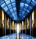 Modern perspective glass roof corridor futuristic hallway Stock Photo