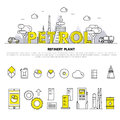 Modern petrol industry thin block line flat icons and compositio