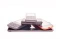 Modern phone pyramid isolated on white Royalty Free Stock Image
