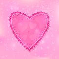Modern pink ruffled heart on light shiny background Royalty Free Stock Photos