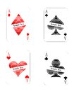 Modern playing cards aces