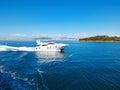 Modern pleasure boat near  the island  Heybeliada Royalty Free Stock Photo