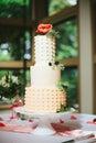 Modern Polka Dot Wedding Cake