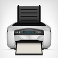 Modern printer with blank paper down object isolated Royalty Free Stock Photo
