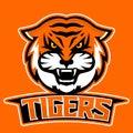 Modern professional logo for sport team. Tiger mascot. Tigers, vector symbol on a dark background.