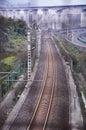 The modern railway tracks converging rail on a bend take on chongqing of china Stock Photos