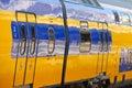 Modern railway train wagons comfortable doors Stock Photos