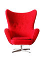 Modern red classic armchair isolated on white background, clippi Royalty Free Stock Photo