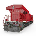 Modern red locomotive  on white. Rear view. 3D illustration, clipping path Royalty Free Stock Photo
