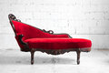 Modern red sofa Stock Photos