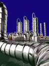 Modern refinery with blue sky Royalty Free Stock Photography