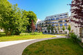 Modern residential buildings in a green environment, sustainable urban planning Royalty Free Stock Photo