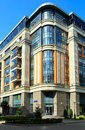 Modern residential complex four suns moscow russia corner building of the new in the center of Stock Photography