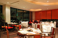 Modern restaurant interior in night illumination Stock Image