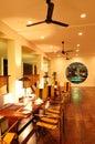 Modern restaurant interior at night illumination bentota sri lanka Royalty Free Stock Photo