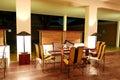 Modern restaurant interior at night illumination bentota sri lanka Royalty Free Stock Image