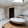Modern restroom interior of new in daylight Royalty Free Stock Photo