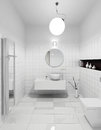Modern restroom interior of in white colors d render Stock Image