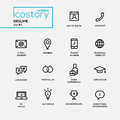 Modern resume simple thin line design icons, pictograms set