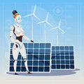 Modern Robot Female Over Wind Turbine And Solar Panels Renewable Energy Artificial Intelligence Technology Concept Royalty Free Stock Photo