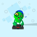 Modern robot hold remote control console controller flat vector illustration Stock Photography