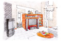 Modern room interior sketch. hand painted graphical sketch of li