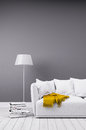 Modern room in minimalistic style with sofa Royalty Free Stock Photo