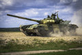 Modern Russian tank at high speed Royalty Free Stock Photo