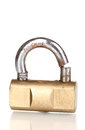 Modern sawn padlock Royalty Free Stock Photo