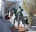 Modern sculpture of adam and eve ljubljana ashamed banished from paradise made by contemporary slovene sculptor jakov brdar Stock Image