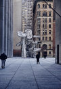 """Modern sculpture in new york city one chase manhattan plaza a banking skyscraper that s a landmark the art piece is """"group of Stock Image"""
