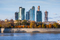 Modern scyscrapers of moscow city business center russia Royalty Free Stock Photo