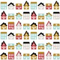 Modern seamless childish pattern with cute houses in scandinavian style. Kids city texture for print.