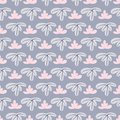 Modern seamless leaf pattern with blue background