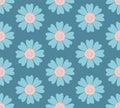 Modern seamless pastel blue flower pattern